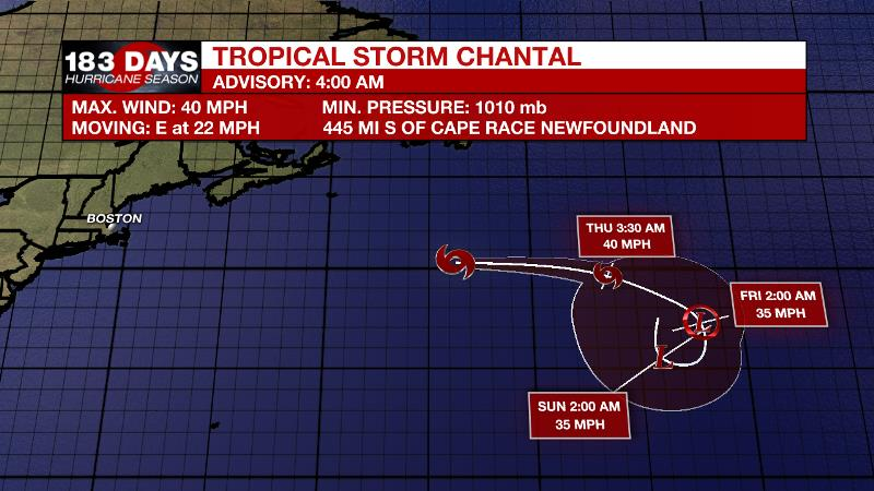 Chantal forms over north Atlantic, becomes third named tropical storm