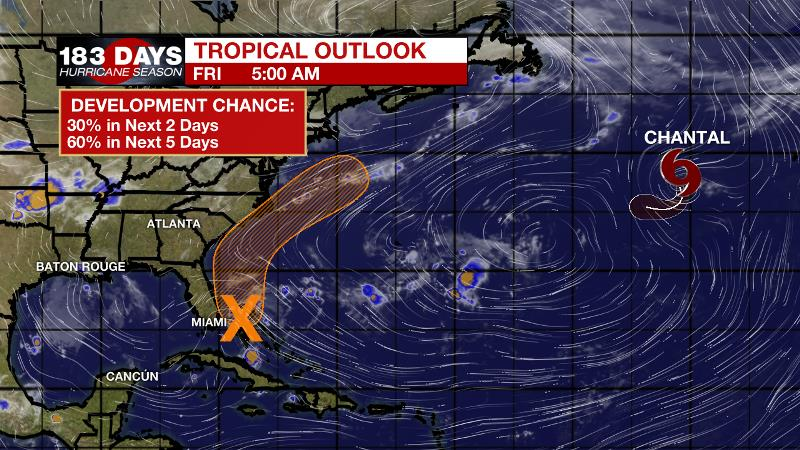 Disturbance on Florida's doorstep has 70% chance of development