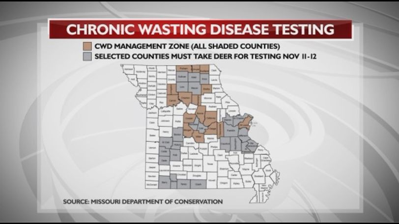 Updated map of the mandatory testing zones within the state of Missouri.