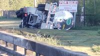 Overturned 18-wheeler closes roadway in St. Gabriel