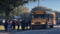 Two children injured after school bus goes off-road