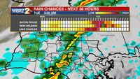 Next cold front brings rain, storms Tuesday morning