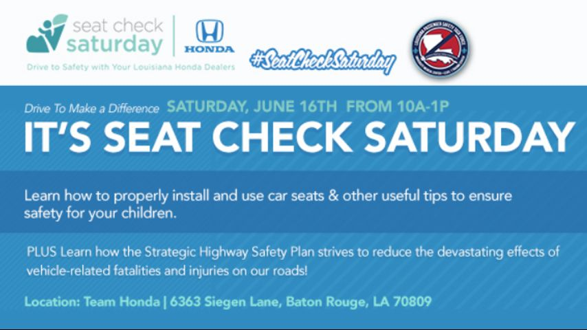 Team Honda offering free child safety seat checks this weekend