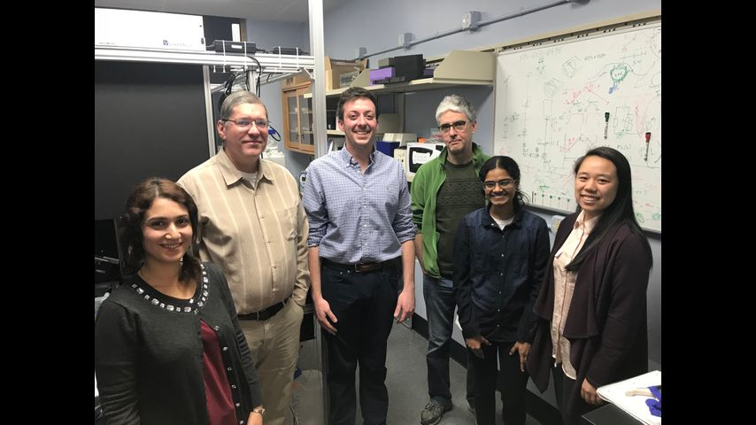 Pictured from left to right: Marzi Amirshenava, Dr. Troy Zars, Benton Berigan, Dr. Lorin Milescu, Aditi Mishra, and Jenna Lin