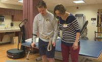 Story image: Mid-Missouri hockey player fights spinal injury one small step at a time
