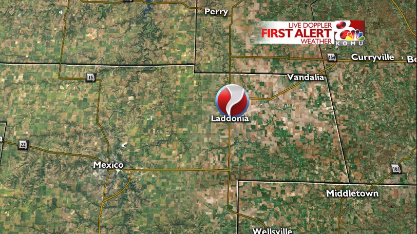 The landspout tornado was located near Route J and HWY 54 north of Laddonia.
