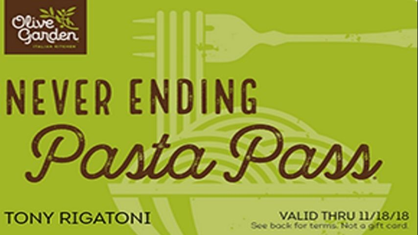 Lotsa Pasta: Olive Garden offers year of never ending pasta