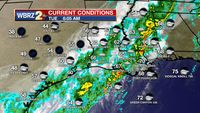 Showers through midday, chilly night ahead