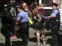 Story image: Protesters block highway traffic in St. Louis, many arrests