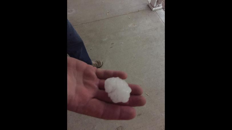 Cyndi Hughes Evans posted this picture of hail in New Bloomfield off of state road Y.