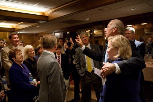 VP Joe Biden, Sen. Mary Landrieu, Paul Mainieri