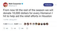Story image: Cardinals players pledge money to Houston for Carpenter home runs