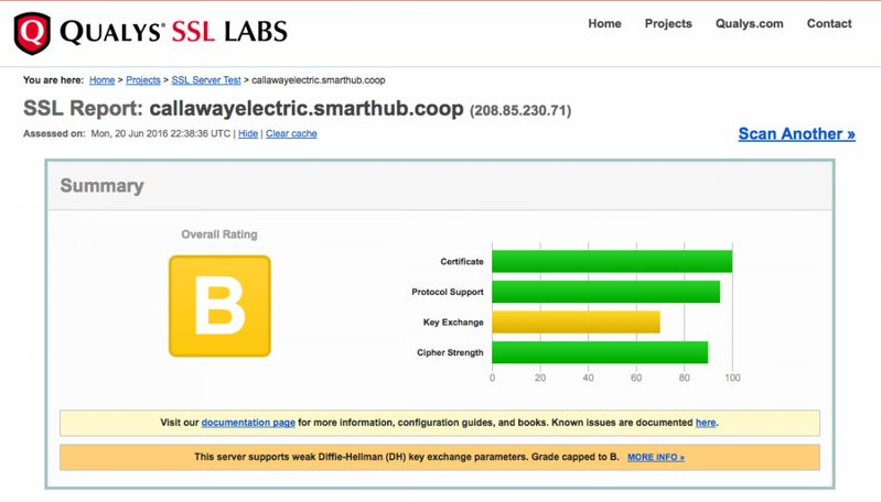 Qualys test results from Callaway's online electricity bill payment webpage.
