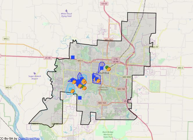 Columbia Water and Light outage map as of early this afternoon.