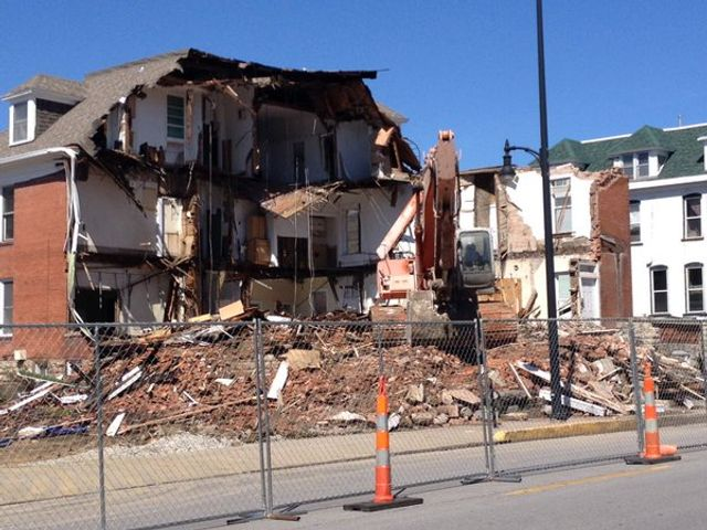 The James Building in Downtown Columbia was demolished early Monday.