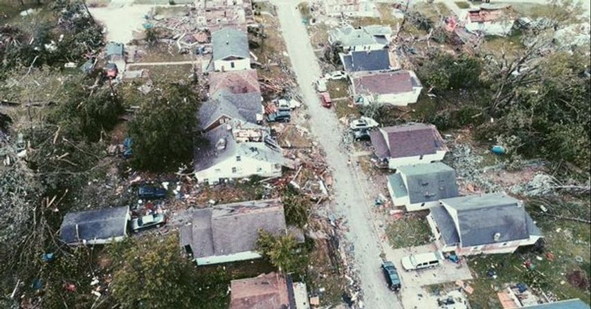 In this May 2019 file photo, we take a bird-eye approach of the damage left in Jefferson City after a tornado ripped through both the capital city and Eldon, Mo.