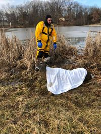 Story image: Boone County firemen save deer from pond