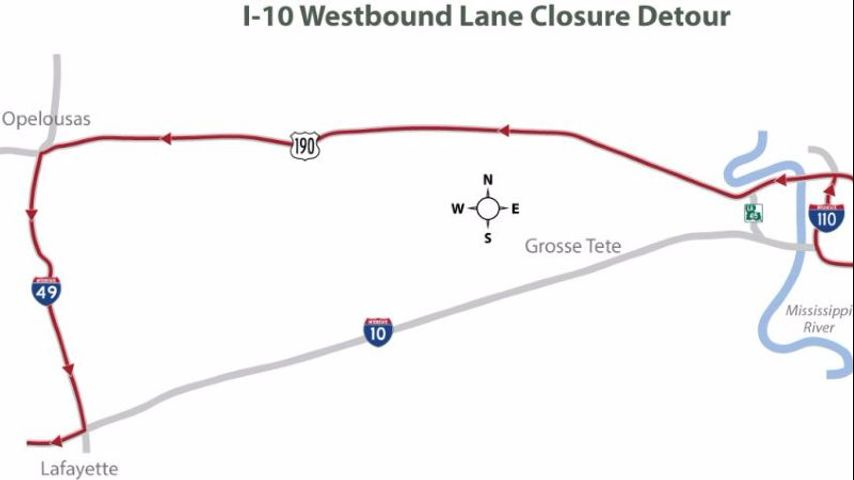 18 miles of rolling lane closures this weekend on I-10 West