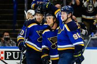 Story image: Sanford records first career hat trick, Blues fall to Golden Knights