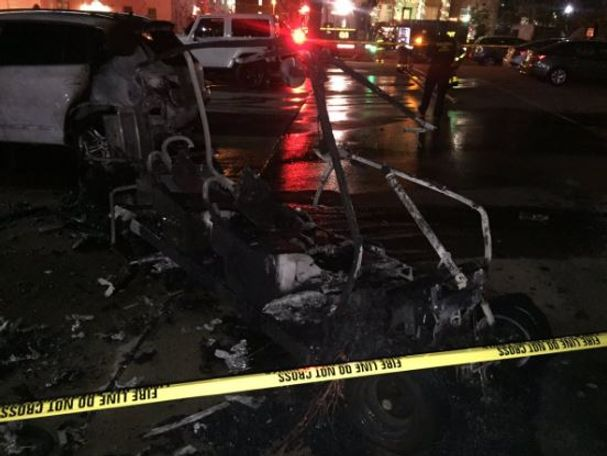 The golf cart was completely scorched once firefighters finally put out the fire.