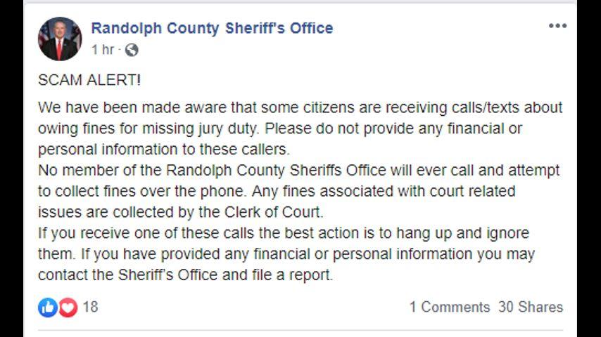 Randolph deputies warn of new phone scam
