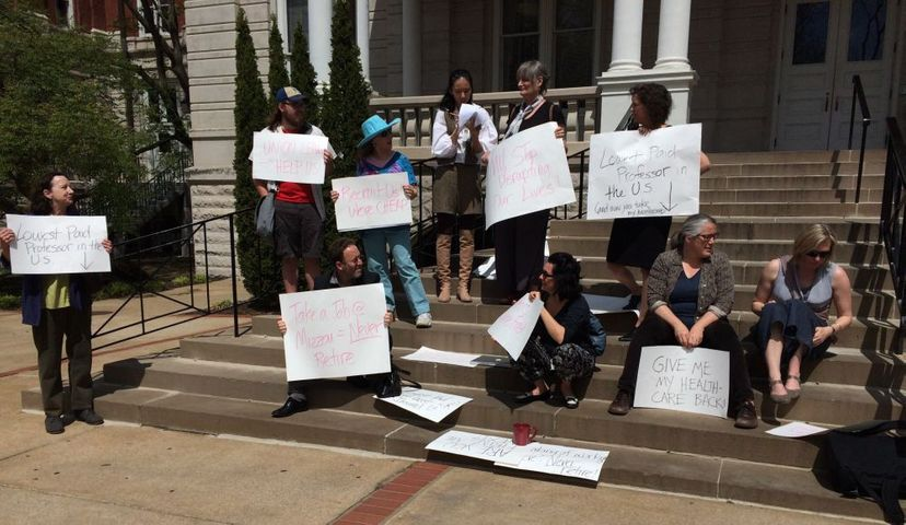 MU faculty members protest outside Jesse Hall.
