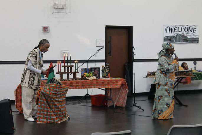 Two presenters were at the event to tell residents about the traditions of Kwanzaa