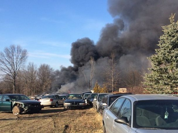 50-70 cars were reported to be on fire.