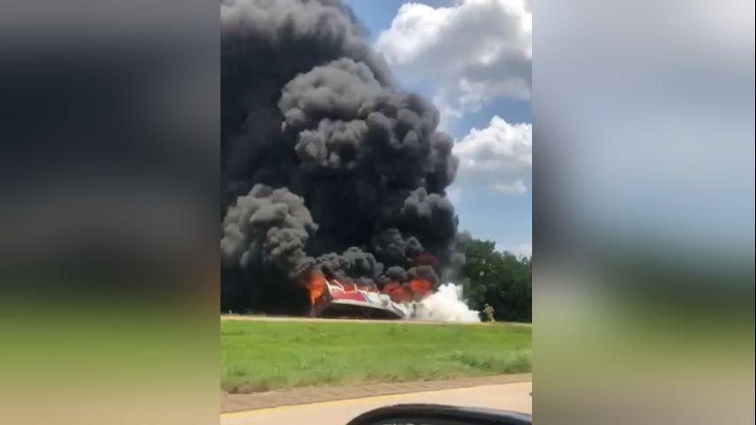 VIDEO: Massive 18-wheeler fire shuts down I-10 in Breaux