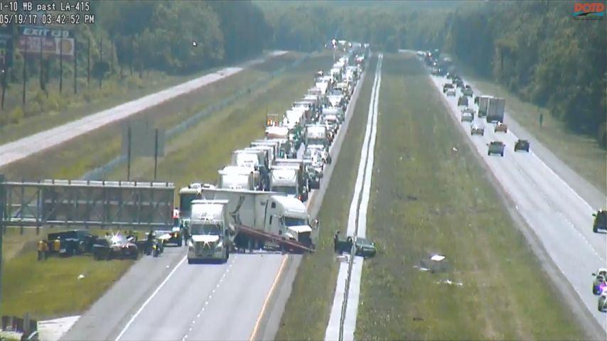 Another 18-wheeler crash closed I-10 E into Baton Rouge Friday