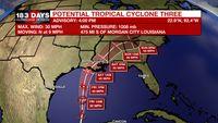 Gulf disturbance designated as Potential Tropical Cyclone Three