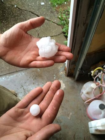 Marisa Dennison shows varied sizes of hail in Mexico.