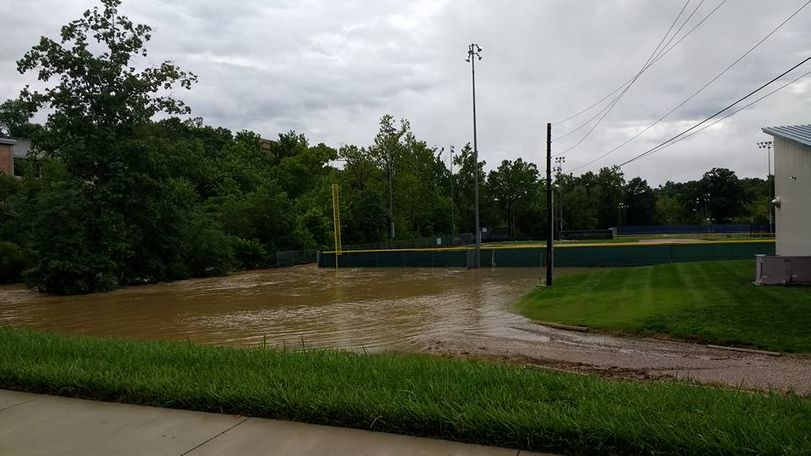 This ball field at Westminster College was among the flooded areas. Photo/Michael Rogers.