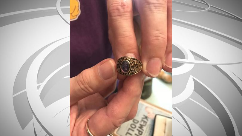 Alice Ramey's Kewpie collection got started with this class ring, which features the image of a doll in the center of its stone.