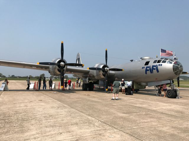 A Boeing B-29 Superfortress named FIFI was used as a heavy bomber during World War II.