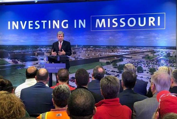 U.S. Senator Roy Blunt (Mo.) delivers remarks at General Motors' Wentzville facility.