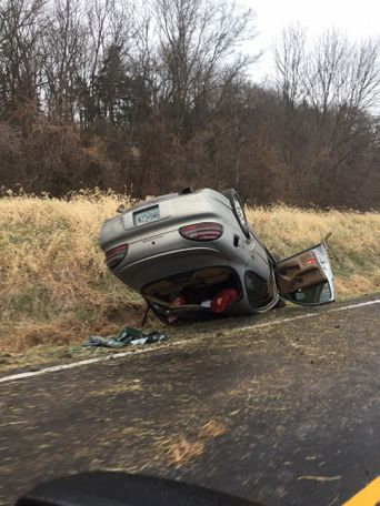 A car overturned on Hwy 94 about 10 miles east of Jefferson City