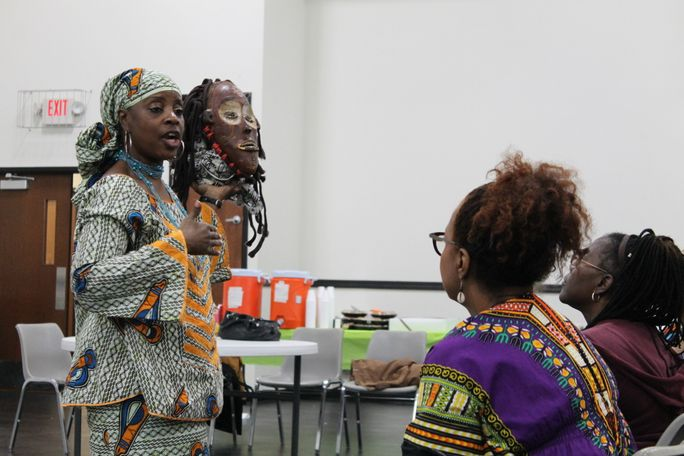 This mask represents the sixth night of Kwanzaa: Kuumba or Creativity