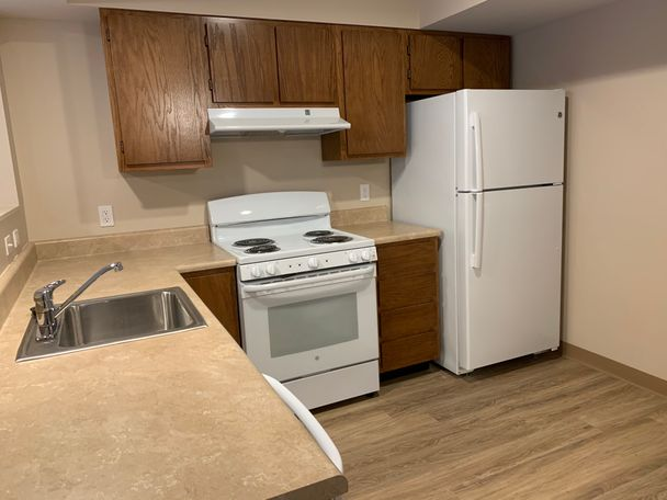 An example kitchen of the newly-renovated units.