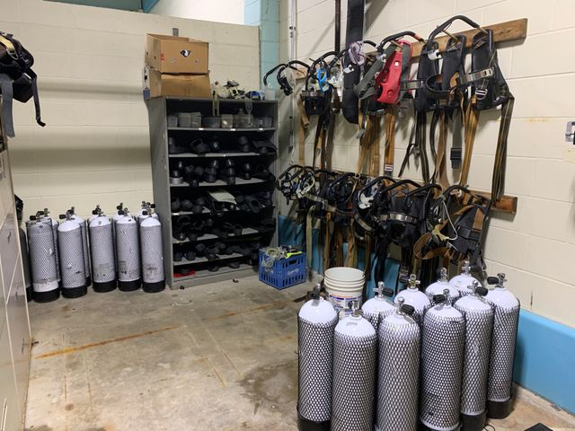 Scuba Theory has an entire room to store diving equipment at Hickman High School pool.
