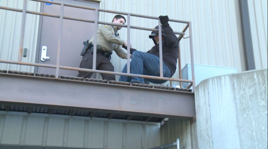 One of the various role-playing exercises that the Sheriff's Department went through on Friday. In this particular exercise, officers were tasked with dealing with a person threatening to jump off a ledge.