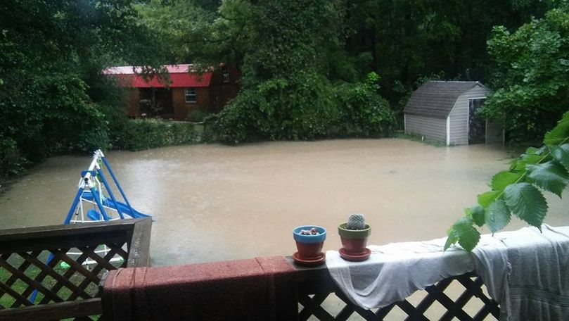 Water backed up from the yard into the flooded basement. Photo/Leslie Bruce.
