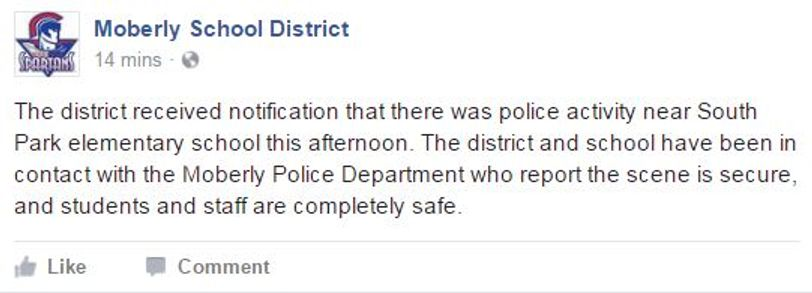 Moberly School District posted to its Facebook page around 3:30 p.m. saying it had been in contact with police and all students and staff were safe.