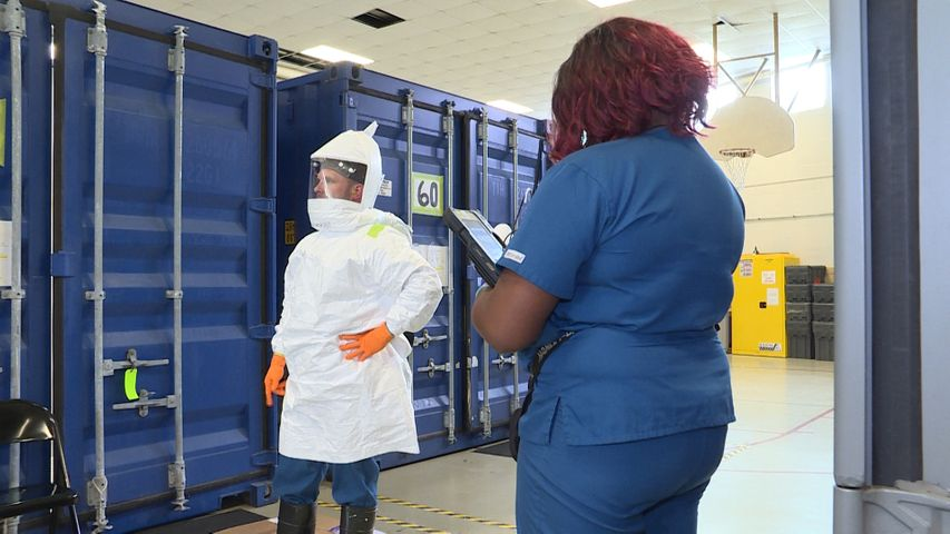 In April, a mask decontamination system was set up in Jefferson City. Since then, over 6,000 masks have been decontaminated.