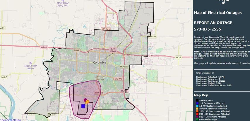 Screenshot of power outage map as of 7:45 p.m. Friday, April 19.