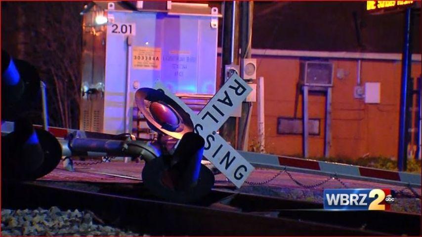 Late-night crash knocks down railroad crossing signal on N