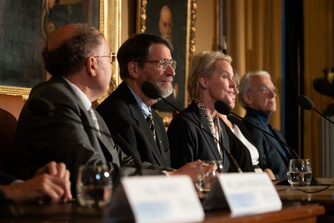 "MU Professor George Smith spoke at a Stockholm press event Friday alongside fellow laureates of the 2018 Nobel Prize in Chemistry Greg Winter and Frances Arnold. Smith said his attraction to the sciences comes from the ""tremendous high"" of doing something new. (Photo credit: Nathan Lawrence)"