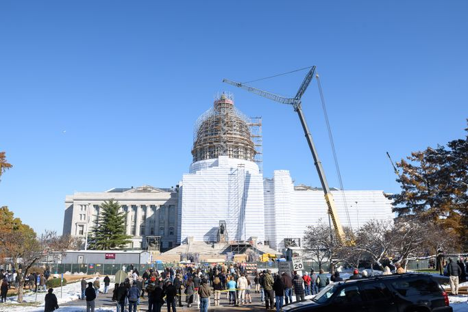 Extensive scaffolding went up around the dome to facilitate the statue's removal.