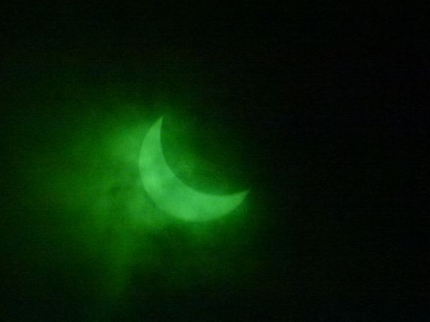 Shirley Brewen used a welding helmet to capture a green eclipse