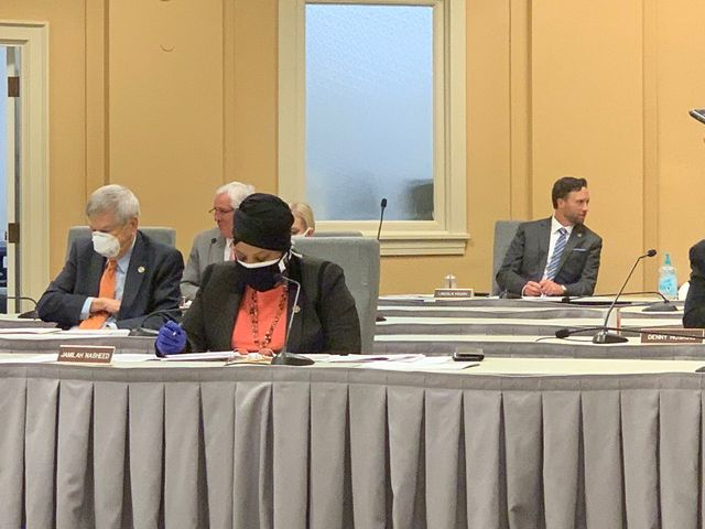 Many state lawmakers wore masks during legislative proceedings on Tuesday.